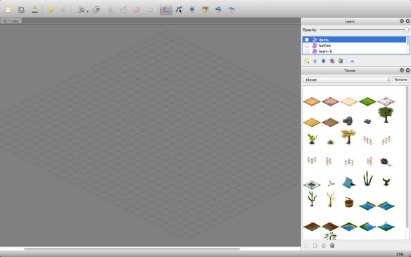 Editor de mapas Tiled, usado para criação dos mapas do Cangaço RPG