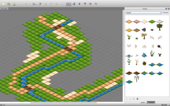 Exemplo de camada de tiles usada para posicionar apenas elementos de solo, como areia, grama e água